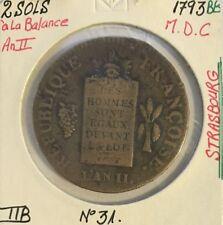 2 SOLS à la Balance An II - 1793BB - Pièce de Monnaie en Métal de Cloche // TTB