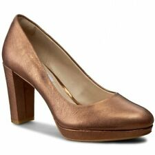 Clarks Ladies Smart Court Shoes KENDRA SIENNA Bronze Leather UK 6 / 39.5 Wide