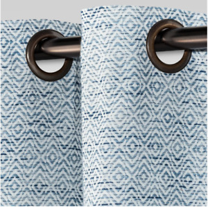 """Threshold Diamond Weave Window Curtain Panel, 95"""" x 54"""", Blue (New with Defects)"""