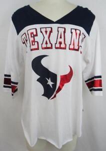 Houston Texans Womens Size Medium 3/4 Length Sleeve V-Neck T-Shirt AHTX 62