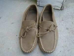 Mens Minnetonka driving moccasins beige suede sz 12- made in USA