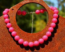Futchia pink 15mm round lucite bead silver tone NECKLACE