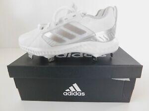 Adidas PureHustle Womens Girls White Silver Softball Cleats Size 5 NEW