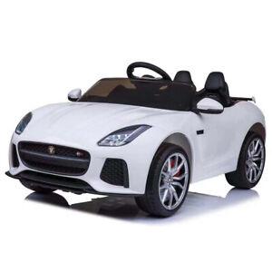 Auto Elettrica Bambini Jaguar F-Type 12V Sedile Pelle MP3 USB Telecomando Bianco
