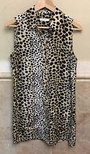 Equipment Leopard Print Silk Sleeveless Shirt Dress Tunic Top Blouse XS