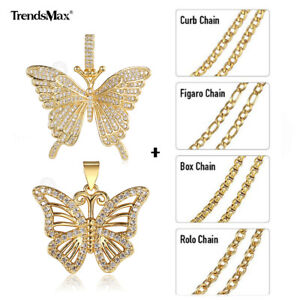Gold Plated Butterfly Pendant Necklace Women Rhinestone Sweater Chain Multi Link