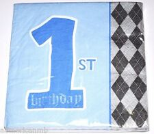 32pc 3ply Beverage Paper Napkins Happy 1st First Birthday Blue Boys Party Argyle