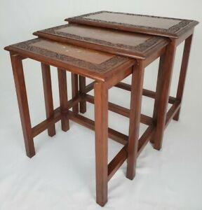 Vintage Nesting Tables Accent Table Carved Teak Wood Brass Inlay Set of 3 Asian