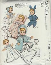 "Vintage 1957 McCall's Baby Doll's Wardrobe Pattern fits 19"" - 21"" Dolls"