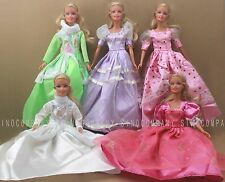 Lot 5 pcs Princess Wedding Dress Party Gown Clothes Outfits For Barbie Doll Gift