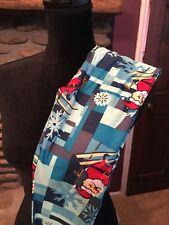 Tween Lularoe Leggings Holiday Christmas Santa Skiing Snowflake Blue NEW