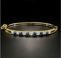 3.24CT Round Cut Blue Sapphire & Diamond 14K Yellow Gold Over Bangle Bracelet