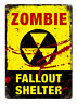 Zombie Fallout Shelter. Metal Wall Sign Plaque Art Haloween Undead Blood Bedroom