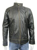 New Men Brown Rub Off Classic Biker Leather Napa Fashions Jacket Bike Rock