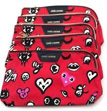 Lot of 5 : Estee Lauder Heart Print Cosmetic Makeup Bag By Quentin Jones ~ Red