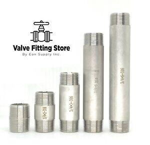 "3/4"" inch Long PIPE NIPPLE NPT Stainless Steel 316 ALL Length Barrel Nipple"