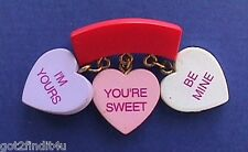 Gibson Pin Valentines Vintage Candy Hearts 3 Sayings Charms Holiday Brooch