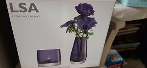 LSA Flower & Light, Glass Bud Vase & Tealight Holder in Violet, new boxed