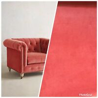 NEW Designer Velvet Upholstery Fabric - Soft Coral- By The Yard
