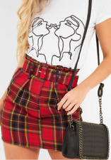 Red Tartan Belted Pleated Mini Skirt size 8-16