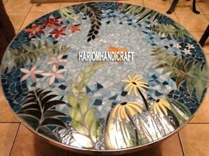 Marquetry Floral Antique Marble Dining Table Top Inlaid Garden Decoration H3990