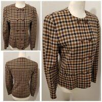 Pendleton Blazer Vintage Wool Jacket Made in USA Tan Brown Navy Womens Size 6 P