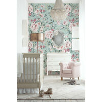 Non-Woven wallpaper Nursery Floral Vintage Pastel Roses Baby Kids room Pale
