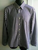UNTUCKit Slim Fit Size Medium Purple Check Long Sleeve Button Front Mens Shirt