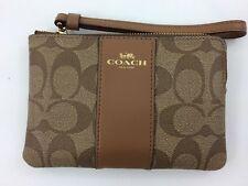 New Authentic Coach F58035 PVC Corner Zip Wristlet Wallet,Khaki/Saddle