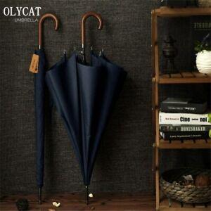 Long Large Men Business Umbrella 8K Windproof Wooden Handle Black Gray Pagoda