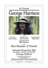 George Harrison / Beatles 1974 Chicago Concert Poster