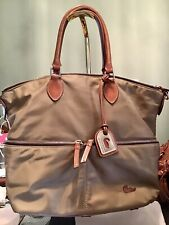 Dooney Bourke Large Nylon Vachetta Leather Front Pocket Satchel Tote Taupe Khaki