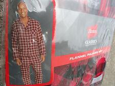 NEW Hanes Men's Pajama Set Red & Black Cotton Flannel Plaid Check S SMALL