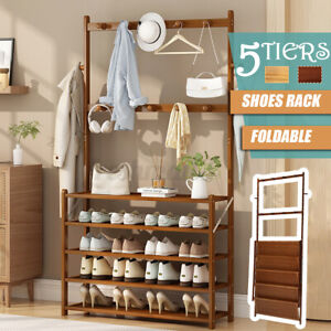 5 Tiers Bamboo Coat Shoe Rack Hallway Hanger Hat Bag Scarves Storage Stand Home
