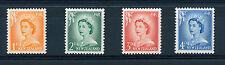 NUOVA Zelanda 1955-59 Definitives sg745b,747a,748b,749a Bianco Opaco Carta Gomma integra, non linguellato