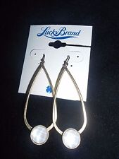 LUCKY BRAND,NWT, GOLD TONE, MOTHER PEARL SEMIPRECIOUS, OVAL, DROP EARRINGS.