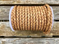 6mm Bolo Braided Leather Cord Natural Tan Genuine Quality Leather