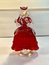 "Antique Murano-Style Glass Red/Gold Victorian Lady Figurine (Height: 8"")"