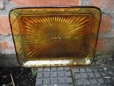 Brockwitz German Art Deco Dressing Table / Cup Cake Tray - 5900 - Amber Glass
