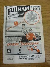 09/10/1954 Fulham V Birmingham City [] in omaggio (tagliata in alto, macchiati THR