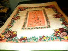"Vintage Pink /Wine Fruit Basket Print Heavy Cotton Tablecloth- 54"" X 64"""