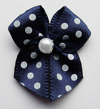 10 SMALL RIBBON BOWS  (Navy with Dots ).