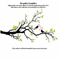 Beautiful birds on branch green leaves red love hearts wall art sticker transfer