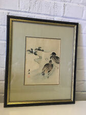Antique Japanese Meiji Shibata Zeshin Signed Watercolor & Ink Woodblock Ducks