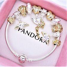 Authentic Pandora Bracelet Silver with ANGEL PRINCESS GOLD LOVE European Charms~