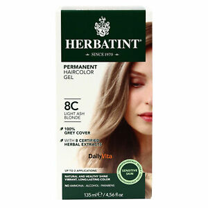 Herbatint Permanent Herbal Hair Color Gel, 8C Light Ash Blonde, 4.56 Ounce