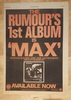 Rumour Max  1977 press advert Full page 28 x 38 cm poster