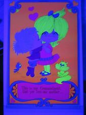 Vintage 1971 Childrens Blacklight Poster LOVE ONE ANOTHER Alvaro Cute Sweet Kids