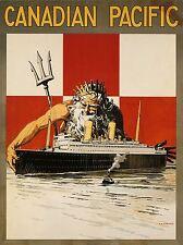 PRINT TRAVEL NEPTUNE POSEIDON SHIP LINER OCEAN GOD GREEK ROMAN CANADA NOFL1333