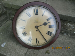 ANTIQUE SMITHS ENGLAND  LARGE RAILWAY/SCHOOL CLOCK/KEY WOUND